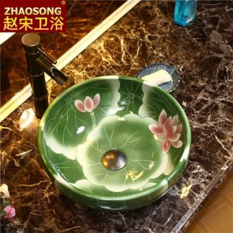 European stage of song dynasty art basin to large-sized ceramic table circular toilet lavabo, household basin basin