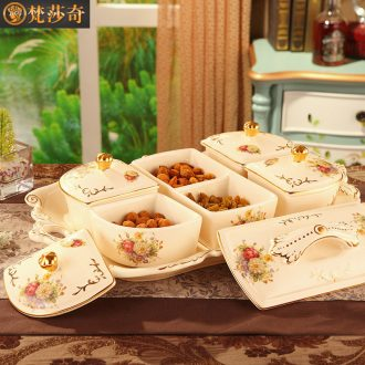 Europe type dry fruit tray dried fruit box frame with cover creative ceramic bowl sitting room candy box of candy plate of Chinese New Year the Spring Festival