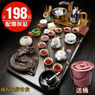 Gorgeous young household automatic induction cooker purple kung fu tea tea set ceramic teapot teacup solid wood tea tray