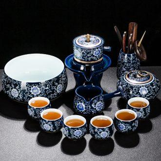 Qin Yi blue glaze ji blue of a complete set of semi-automatic kung fu tea set of blue and white porcelain ceramic lazy household teapot teacup suit