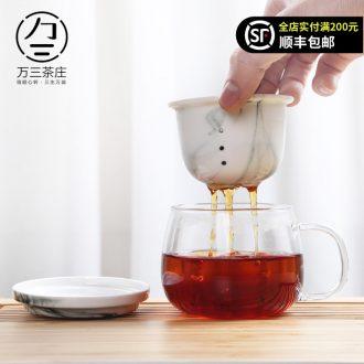 Three thousand people make tea cups of tea tea village separation glass heat home office transparent ceramic filter tank