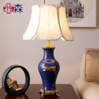 American ceramic desk lamp study bedroom berth lamp retro sweet creative decoration full copper ice crack ceramic lamp