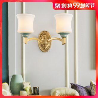Contracted wall lamp full copper ceramic lamps and lanterns is single head double bedroom berth lamp European sitting room corridor corridor lamp