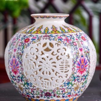 Jingdezhen ceramics vase hollow out modern flower crafts are sitting room porch home office decorations