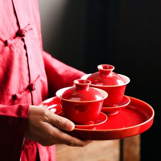 Bo yao ji red tureen tea set ceramic large red worship bowl three kung fu tea set marriage just tureen tea custom