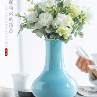 Jingdezhen ceramics creative modern shadow blue glaze sitting room put dry vase new Chinese style household soft adornment is placed