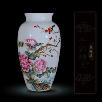 Jingdezhen ceramics Xiong Guiying hand-painted pastel the singing of birds in the spring the vase modern decorative crafts