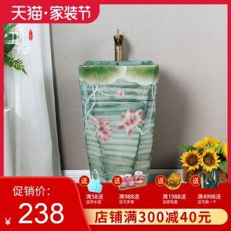 Ceramic column basin pillar lavabo floor art integrated basin toilet lavatory ink lotus