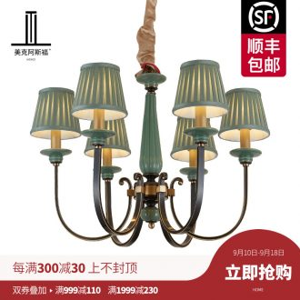 The copper pendant sitting room dining-room lamp European contracted study bedroom light pure copper ceramic lamps and lanterns of luxury villas