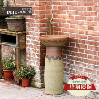 Simple column basin ceramic pillar lavabo outdoor balcony toilet ground vertical commode basin
