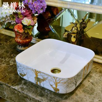 Jingdezhen stage basin of continental square sink basin that wash a face plate of household toilet basin sinks ceramics art