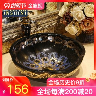 Gold cellnique jingdezhen ceramic art on the stage basin bathroom sink European wind her face basin scale many design and color