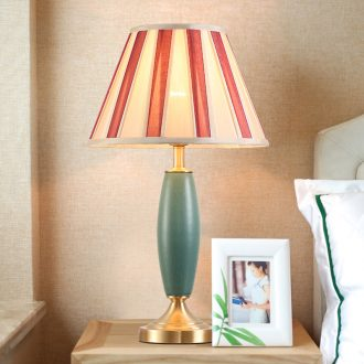 American whole copper ceramic desk lamp LED contracted warmth of bedroom the head of a bed of creative personality between example ins chandeliers