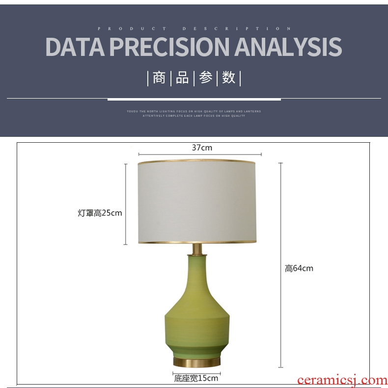 American ceramic lamp of bedroom the head of a bed lamp contracted and contemporary creative fashion a warm and romantic wedding full copper lamp
