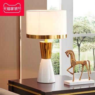 Light postmodern American luxury adornment bedroom berth lamp european-style originality contracted sweet wedding ceramic sitting room desk lamp