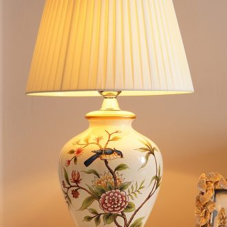 Desk lamp of bedroom the head of a bed lamp sitting room American new Chinese style restoring ancient ways European rural warmth creative ceramic desk lamp of remote control