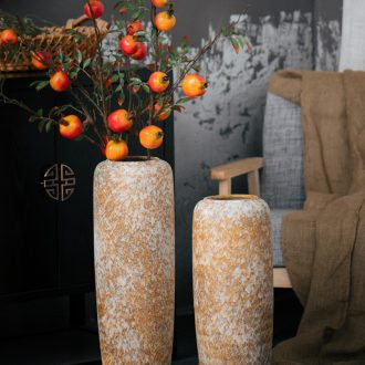 Jingdezhen ground vase sitting room hotel earthenware jar retro large-sized ceramic flower arranging dried flower vases, flower art furnishing articles