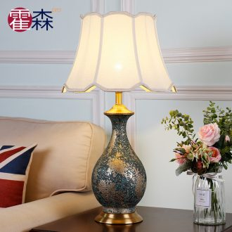 American simple ceramic lamps fashion vase full copper retro large warm decorated living room desk lamp of bedroom the head of a bed