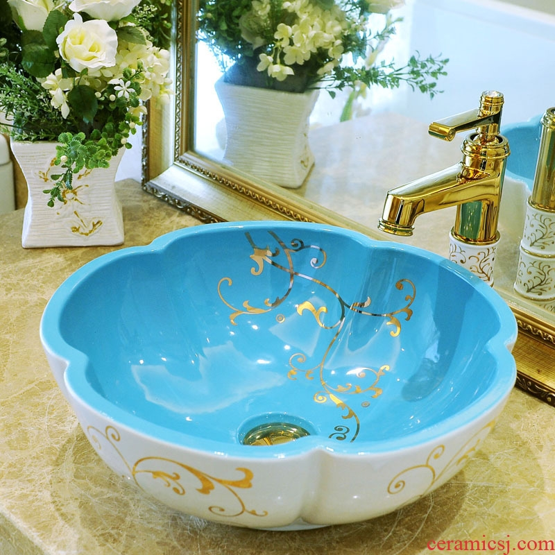 Package mail petals jingdezhen art basin modelling lavatory washbasins stage basin & ndash; Gold line