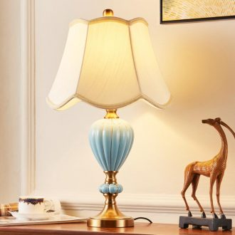 Europe type desk lamp lamp of bedroom the head of a bed sweet contracted American ceramic copper lamp dimming bedroom lamp study the living room