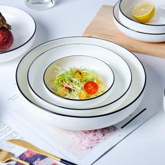 Jingdezhen ceramic tableware by hand stroke Japanese dishes soup plate creative black side home European NATO nest dish