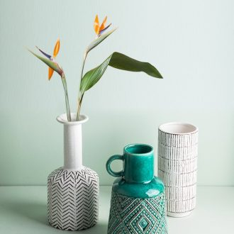 Ins Nordic put dry vase furnishing articles Bohemian ceramic soft adornment example room sitting room decoration is contracted
