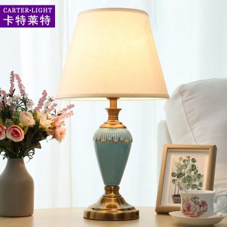 American lamp decoration wedding room desk lamp of bedroom the head of a bed warm light ceramic contracted and contemporary creative fashion sweet romance