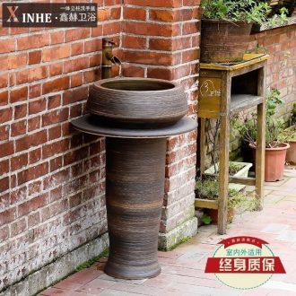 Pillar type lavatory ceramic bathroom toilet outdoor balcony ground sink basin integrated vertical column basin