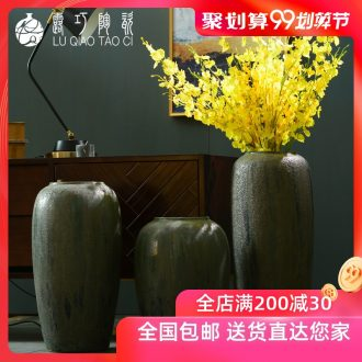 Lou qiao of large vases, ceramic furnishing articles of Chinese style restoring ancient ways POTS to the sitting room TV cabinet dry flower stoneware bottle arranging flowers