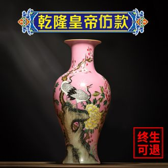 Better sealed kiln jingdezhen ceramics hand-painted vases, red ancient frame furnishing articles cranes fishtail bottle home crafts