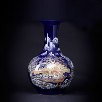Archaize of jingdezhen chinaware big blue vase furnishing articles flower arranging ground adornment of Chinese style the sitting room porch decoration