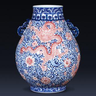 Jingdezhen ceramics imitation qianlong creative hand-painted dragon vase new Chinese style living room home furnishing articles