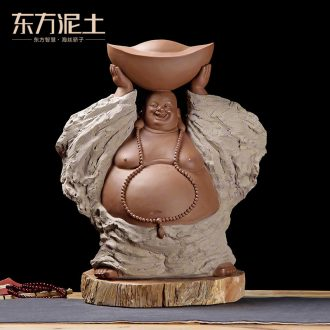 Oriental soil coarse pottery zen furnishing articles ceramic sculpture art housewarming gift/wealth old D40-02