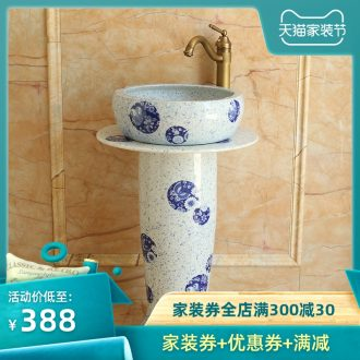 Ceramic column type lavatory toilet pillar lavabo balcony floor integrated art basin