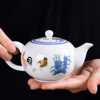 Imitation Ming chenghua dou color restoring ancient ways of rooster cup archaize kung fu tea set single pot of blue-and-white porcelain tea pot