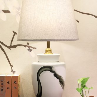Large number of new Chinese style desk lamp ceramic decoration art study Chinese landscape contracted sitting room porch town house