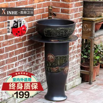 Lavabo ceramic basin of pillar type small column carved household outdoor toilet ground commode pool basin