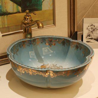 The stage basin European ceramic toilet lavabo, octagon petals art basin washing a face wash basin pool