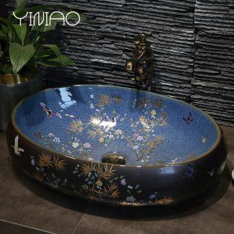 Million birds ceramic art stage basin oval ou the sink basin sink toilet lavatory basin