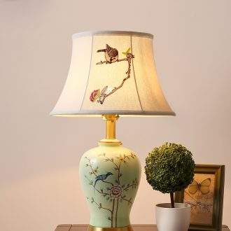 Hilton full copper American ceramic desk lamp lamp of bedroom the head of a bed of Chinese style household adornment lamps and lanterns of contemporary and contracted sitting room