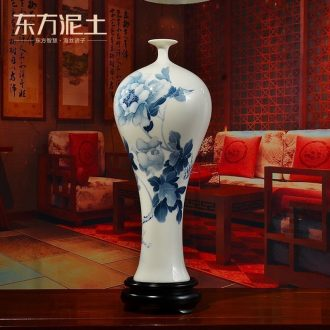 Oriental clay ceramic hand-painted vases furnishing articles of Chinese style living room TV cabinet rich ancient frame accessories/blooming flowers