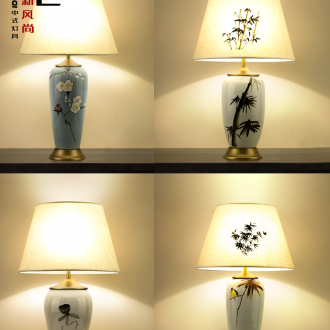 New Chinese style lamp light ceramic desk lamp of bedroom the head of a bed sitting room study vase decoration lamp cloth lamp act the role ofing restoring ancient ways
