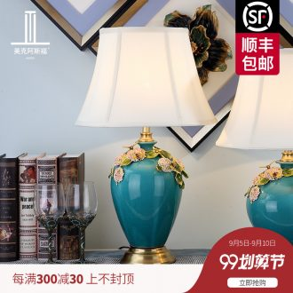 Type simple colored enamel copper ceramic desk lamp all warm bedroom lamps and lanterns of the sitting room of the head of a bed study villa decoration