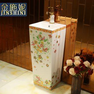 Gold cellnique ceramics column basin floor balcony Europe type lavatory basin creative one-piece column basin basin