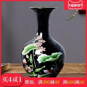 Jingdezhen chinaware lotus flower bottle arranging flowers vase of porcelain of modern Chinese style household adornment sitting room ark furnishing articles