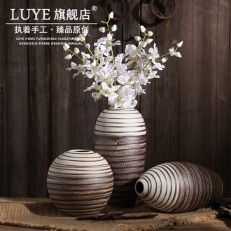 Retro creative ceramic vase jingdezhen porcelain flower implement coarse pottery dried flowers flower arrangement sitting room european-style decorative furnishing articles