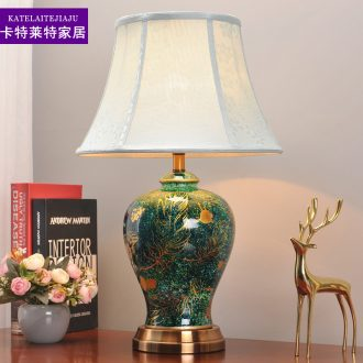 Desk lamp of bedroom lamp bedside typhoon light sweet romance American creative eye ceramic light luxury home decoration light