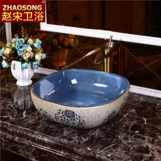 Mediterranean restoring ancient ways of song dynasty ceramic lavabo household creative stage basin square face basin balcony blue and white