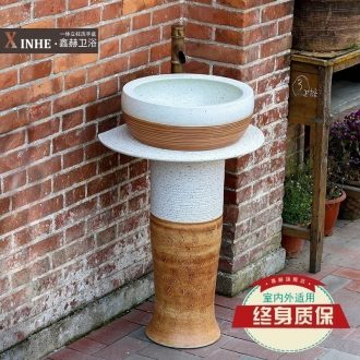 Toilet lavabo ceramic pillar household outdoor floor balcony toilet integrated personality wash basin