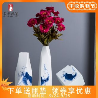 Jingdezhen small mouth vases, flower arranging flower implement dried flower flower vases furnishing articles floret bottle wine cabinet office computer desk